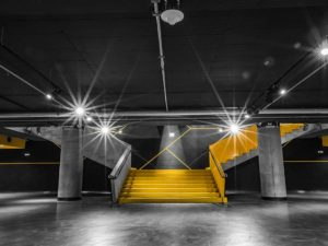 Funky yellow staircase in Forum Karlin